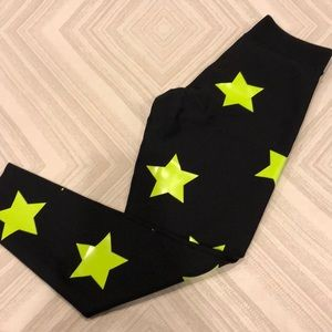 Ultracor Black Leggings with Yellow Neon Stars
